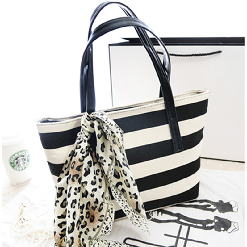Yanzi 2017 Lady Canvas Shoulder Bag Women Stripe Portable Handbag With Scarf Tote Purse Mujer Holiday Beach Bags P168 In From Luggage