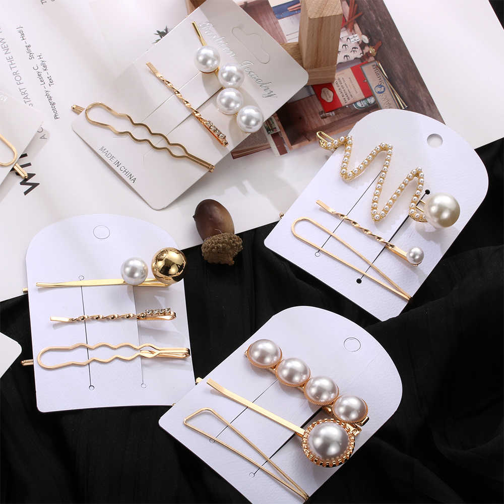 3 Pcs/1 Set Korean Fashion Hair Accessories Hair Clips Tiara for Women Irregular Gold Color Metal Pearl Hairpins Barrettes