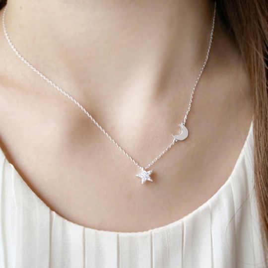 Реальные 925 серебро Длинные циркон звезды и луна ожерелье кулон моды стерлингов-серебро-ювелирные изделия заявление ожерелье для Для женщин