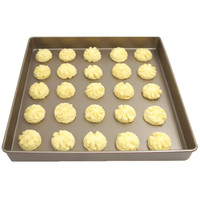 Large 11 Inches Square Gold Cookie Biscuit Pan Kitchen Oven Baking Products Nonstick Carbon Steel Metal Baking Pan Easy Release