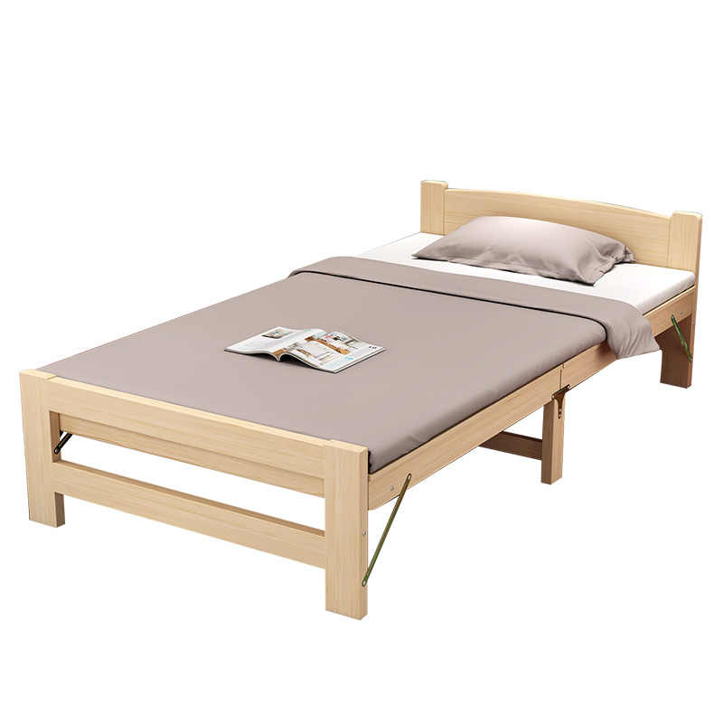 Home Wood Foldable Bed Bedroom Furniture Eco-friendly Portable Folding Beds Single Person Wood Bed Frame Muebles High Quality