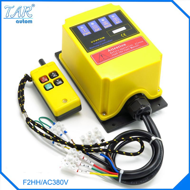 AC 380V Industrial Remote Control Switch Crane Transmitter 4 channels Built-in contactor Lift electric hoist Direct control type dc24v remote control switch system1receiver