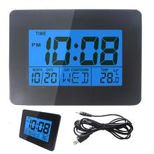 Large LCD Screen bedroom clock Electronic Digital LCD Desk Clock Temperature Display Table Alarm Clock Office Blue Backlight lcd display blue