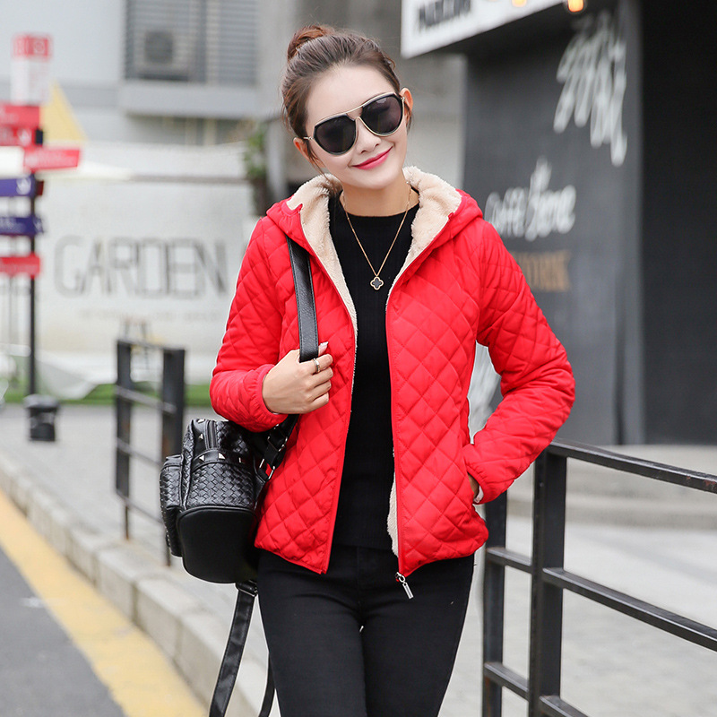 Autumn 2018 Parkas   Basic     Jackets   Female Women Plus velvet lamb hooded Coats Cotton Winter   Jacket   Womens Outwear chaqueta mujer