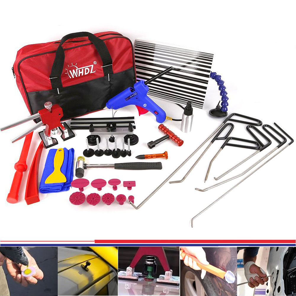 WHDZ PDR Car repair tools 34pcs Paintless Dent Repair Master - PDR Tools Set PDR Rods Dent Hammer Gule Gun Pdr Line Board tools цена