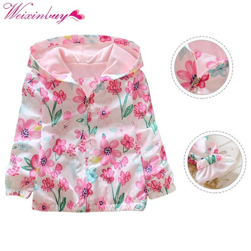 Children Autumn Jacket Kids Girls Flowers Printed Hooded Jackets Outwear 2-7Y Hoodie Coats Long Sleeve Windbreaker