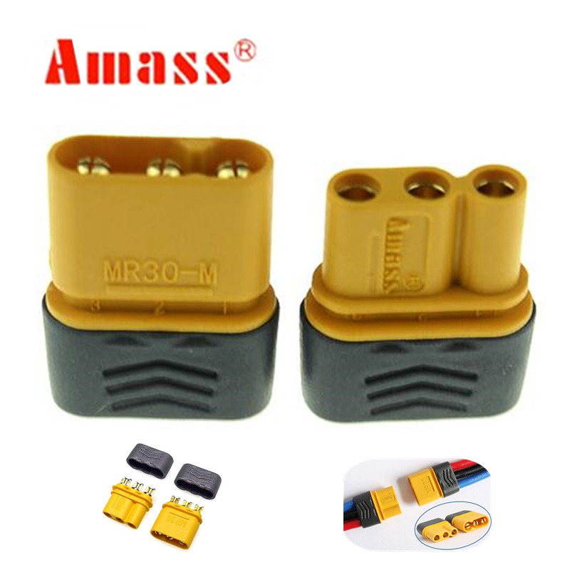 100pairs Amass MR30 MR30 M Connector Plug Upgrated of XT30 Female Male Gold Plated For RC