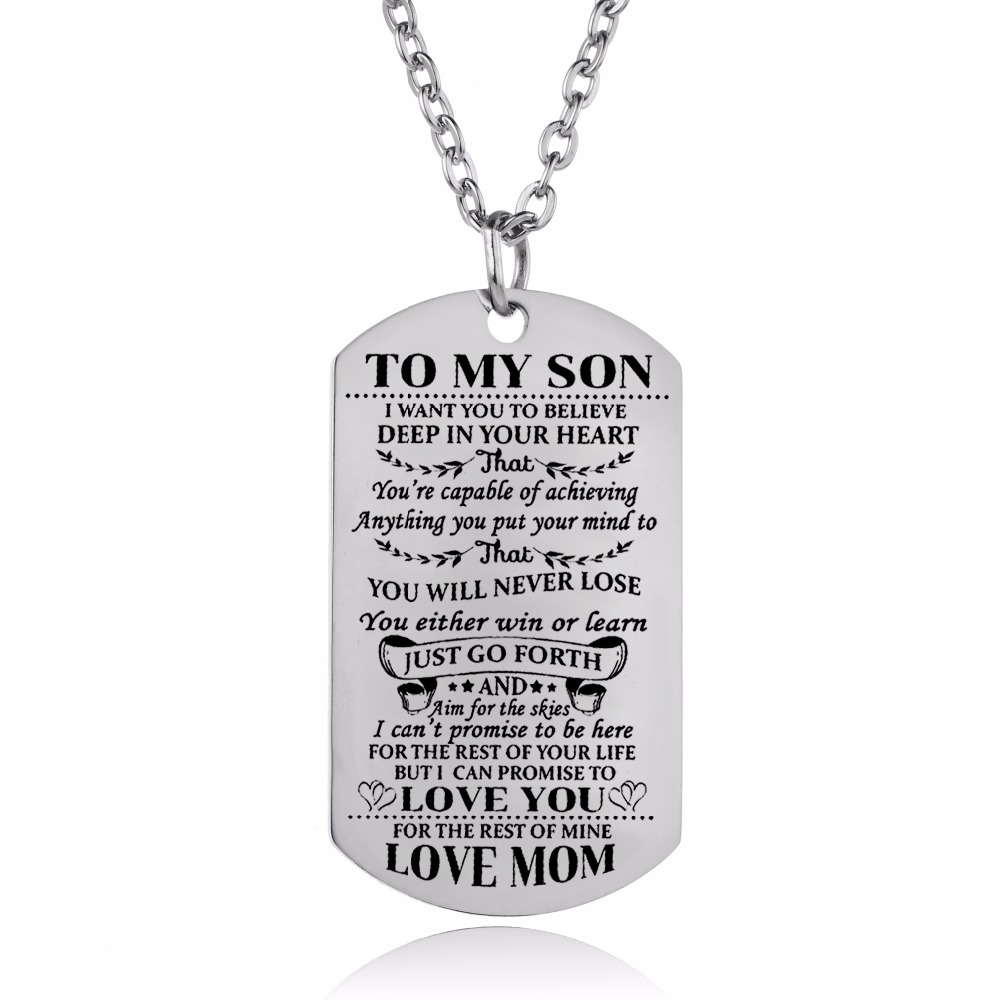Charm Mother Mom Love Son Necklaces Gifts Stainless Steel ...