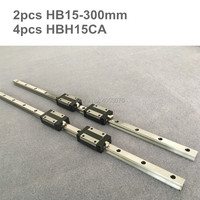 HGR 2 pcs linear guide HB15 300mm Linear rail and 4 pcs HBH15CA linear bearing blocks for CNC parts