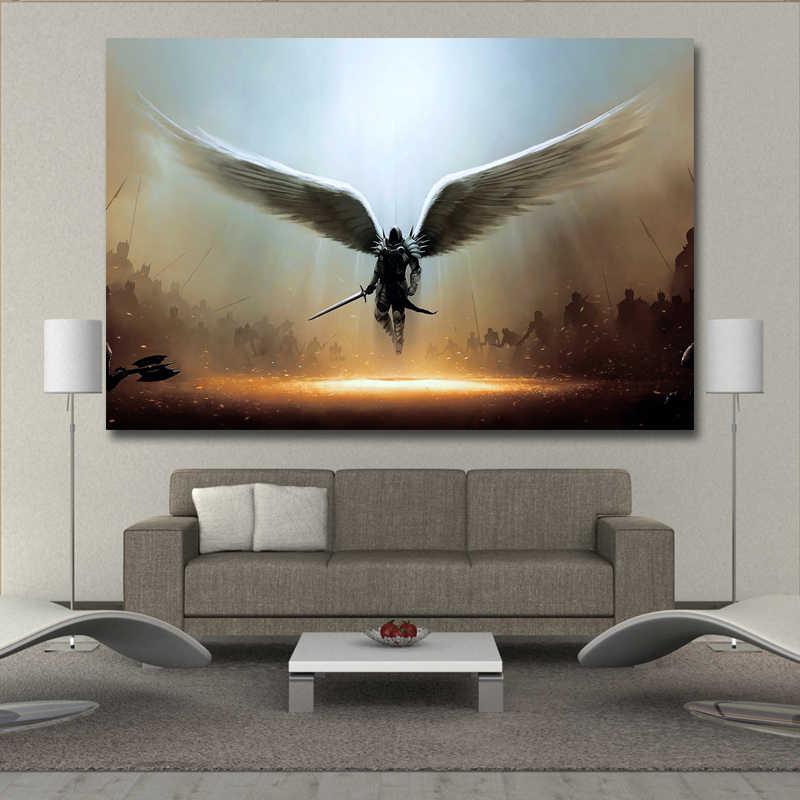 Angel Tyrrell Sayap Kanvas Cetak Lukisan Dinding Seni Poster dan Cetakan Gambar Rumah Dekorasi untuk Ruang Tamu Tanpa Bingkai