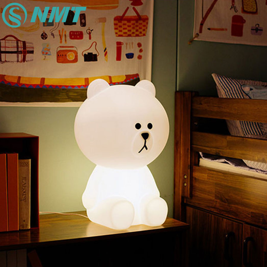 50cm Bear Cartoon Children LED Night Light Dimmable Table Lamp for Baby Children Kids Bedroom EU/US Plug artpad pink blue cartoon figures led unicorn lamp e14 resin dimming eu us plug in kids baby night light for children