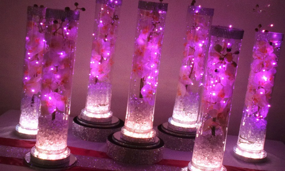 5pcs 6 Inch LED Light Table Setting Decoration RGB LED Multi colors Under Vase Light Base For Western Wedding party table decor