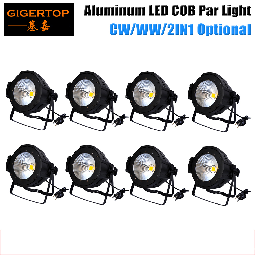 Freeshipping 8PCS 100W Warm White/Yellow New COB Led Par Light Stage Backdrop Washer LED Lighting Fixture DMX 2CH LED Downlight