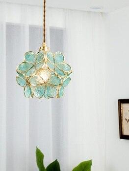 אופנה עלה כותרת תליית מנורת LED תליון אורות מתקן פשוט נחושת Hanglamp נורדי אור גופי שינה Luminaire Suspendu