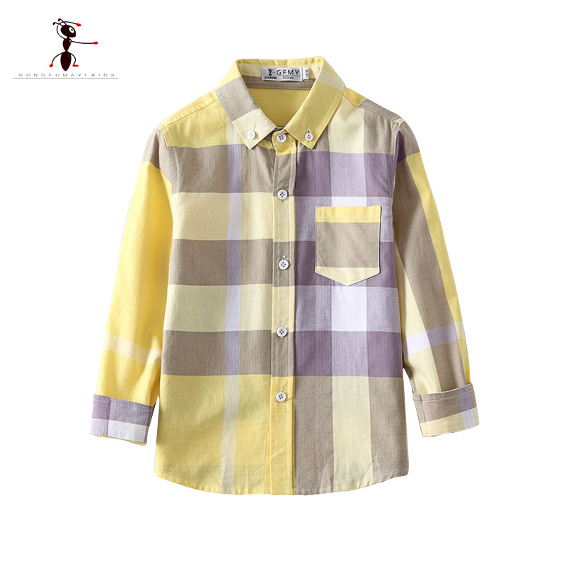 KungFu Ant 2018 Cotton Long Sleeve Turn-down Collar Yellow Plaid Children 3-10 Years Old Kids Boys Shirts 2349 classic turn down collar long sleeve yellow and black plaid shirt for men