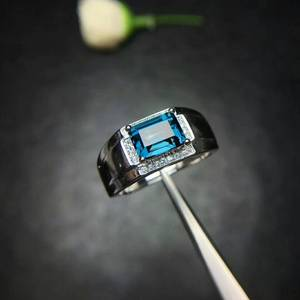 Image 5 - MeiBaPJ Real Natural London Blue Topaz Gemstone Men Ring Real 925 Sterling Silver Ring Fine Wedding Jewelry