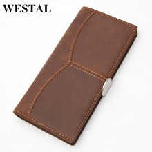 WESTAL Classical Leather Men Wallet Genuine Leather Men Wallets Coin Purse Male Clutch Crazy Horse Leather Man Wallet 8059