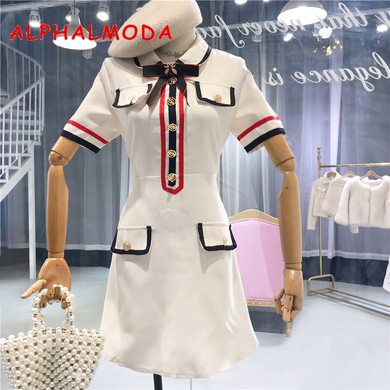 ALPHALMODA Bees Bow Collar Pocket Line Striped Women Fashion Dress Short Sleeved Slim Office Ladies Elegant Summer Vestidos