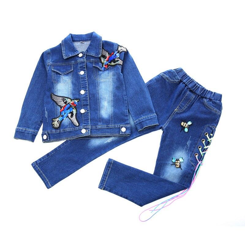 Children 39 s wear cowboy suit 2018 spring and autumn new baby girl cartoon bird print denim coat jeans body suit girl clothing set in Clothing Sets from Mother amp Kids