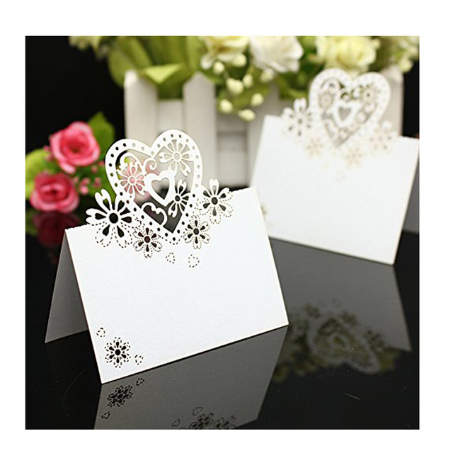 10PCS Name Tag Wedding Reception Table Place Cards LOVE Heart Seat Card For Weddings Feasts Or Parties