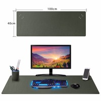 Leather Desk Pad,39.4 x 15.5 Artificial leather Large keyboard Mat Mouse Pad with Pen Holder and Cell Phone Holder Stand