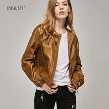 ESCALIEA Women's Slim Washed PU Leather Jacket Fashion O-Neck Zipper Bright Colors Coats New Ladies Basic Jackets