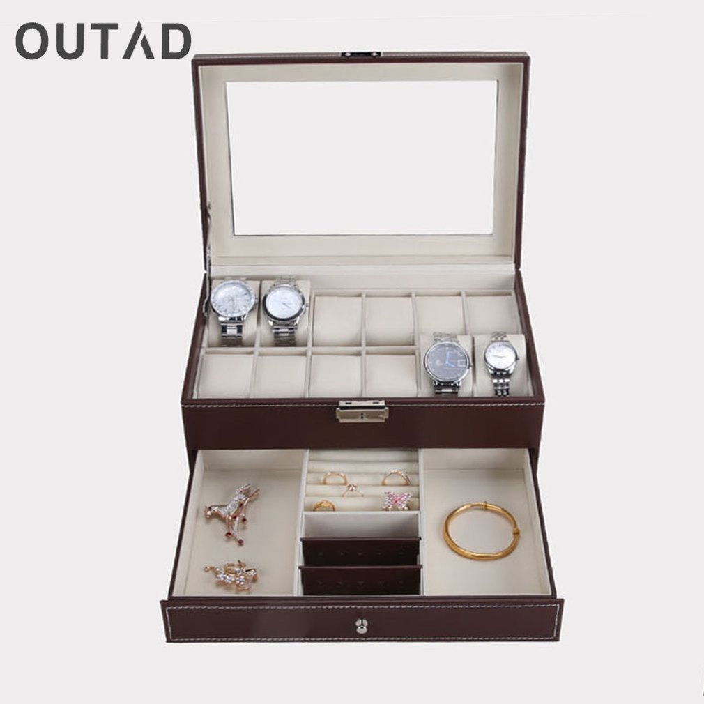 OUTAD 12 Grids Slots Watches Display Storage Box Professional Case PU Leather Double Layers Watch Storage Organizer Boxes Holder black jewelry watch box 10 grids slots watches display organizer storage case with lock