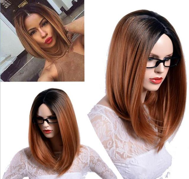 Fashion two tone Ombre Black root blonde wig Charming short bob cut wigs  glueless short bob wigs for women