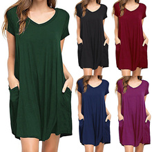 2019 summer casual Placket office work mini women dress short sleeve V neck cotton sexy tunic beach vestidos sell-out everyday