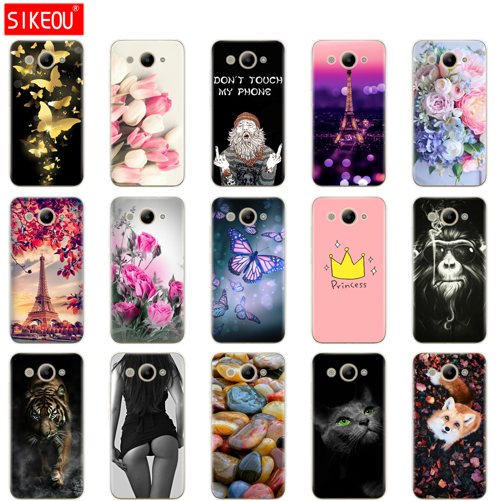 Image 2 - For Huawei Y3 2017 Case Soft Silicone Huawei Y3 2017 Transparent Back Cover 5.0'' TPU Y 3 2017 Phone Cases Cat flower-in Fitted Cases from Cellphones & Telecommunications