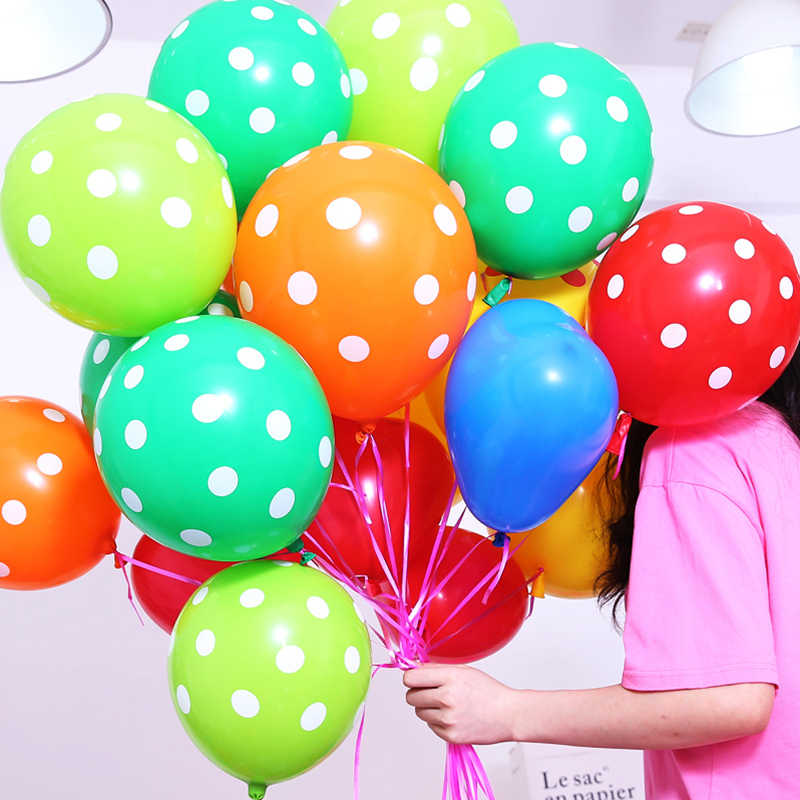 10pcs 12inch Latex Polka Dot Balloons For Party Wedding Birthday Marry Decoration Wholesale Inflatable Air Balls Globos Supplies