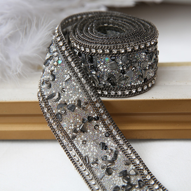 1 Yard high grade clothes accessories waist DIY hat lace trim lace fabric  apparel rhinestones chain drill drilling seam 2dacfe6408ca