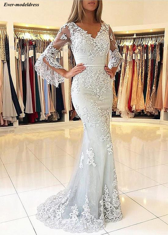 Mermaid   Evening     Dresses   Long Sleeves Lace Appliques Beaded V-Neck Button Back Sweep Train Prom Party   Dresses   Robe de soiree