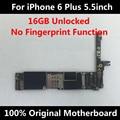 100% original motherboard para iphone 6 plus 5.5 inch desbloqueado 16 gb placa lógica mainboard sem impressões digitais em todo o mundo usam chips completo