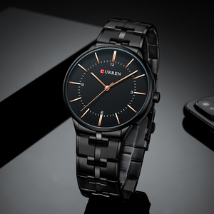 Image 3 - 2019 Top Brand CURREN Luxury Quartz Watches for Men Wrist Watch Classic Black Stainless Steel Strap Mens Watch Waterproof 30M