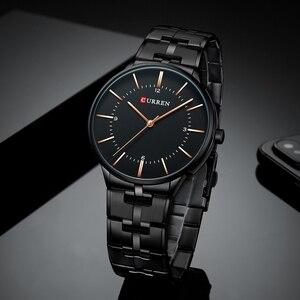 Image 3 - CURREN relojes de cuarzo para hombre, reloj de pulsera clásico negro con correa de acero inoxidable, resistente al agua hasta 30M, 2019
