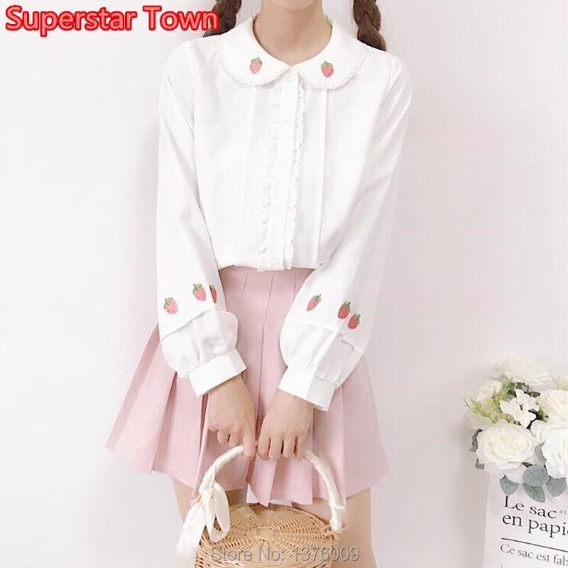 Sweet Lolita   Blouse   Harajuku Style Girls Ladies Embroidery Strawberry White Tops Japanese Maid Kawaii Chiffon   Blouse     Shirt