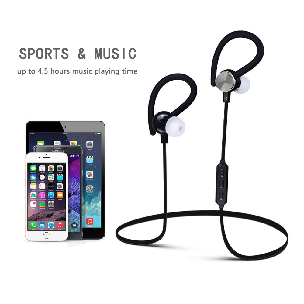 Sport Bluetooth Ear Hook Earphone 4.1 Wireless 3D Stereo Earphones Noise Cancelling Sweatproof with Microphone for Smart Phone