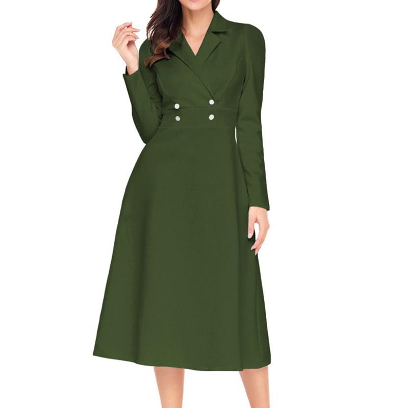 Robe à manches longues à col rabattu femmes élégantes mi-mollet taille Slim robes d'affaires avec boutons devant Fmasuth 61803