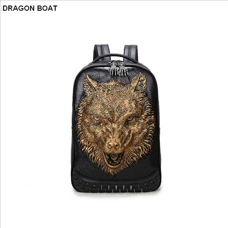 2016 new stylish backpacks 3D wolf head backpack special cool shoulder bags for teenage girls &boy PU leather laptop school bags