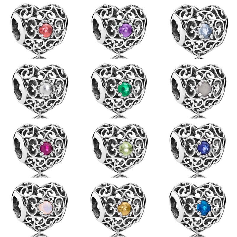 Monat Unterschrift Herz Birthstone Mit Kristall Charme-korne Pandora Armband Armreif 925 Sterling Silber Perle Charme Diy Schmuck