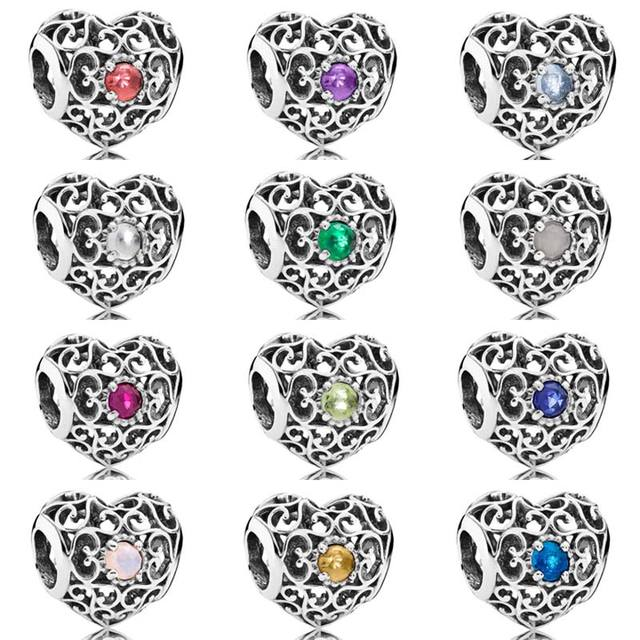 Month Signature Heart Birthstone With Crystal Charm Beads Fit Pandora  Bracelet Bangle 925 Sterling Silver Bead