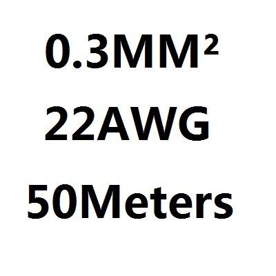 50 mètres 22 AWG 0.3MM2 RVV 7 noyaux Pins Cuivre Fil Conducteur Électrique RVV Câble Noir
