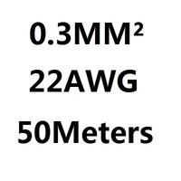 50Meters 22 AWG 0.3MM2 RVV 7 cores Pins Copper Wire Conductor Electric RVV Cable Black
