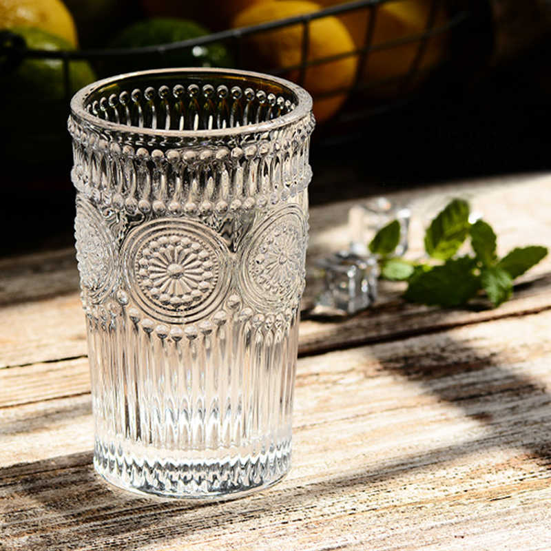 Antique Class Cup Clear Embossed Water Glass Sunflower Juice Wine Milk Drinking Glasses Large Glass Coffee Mug Gift Drinkware