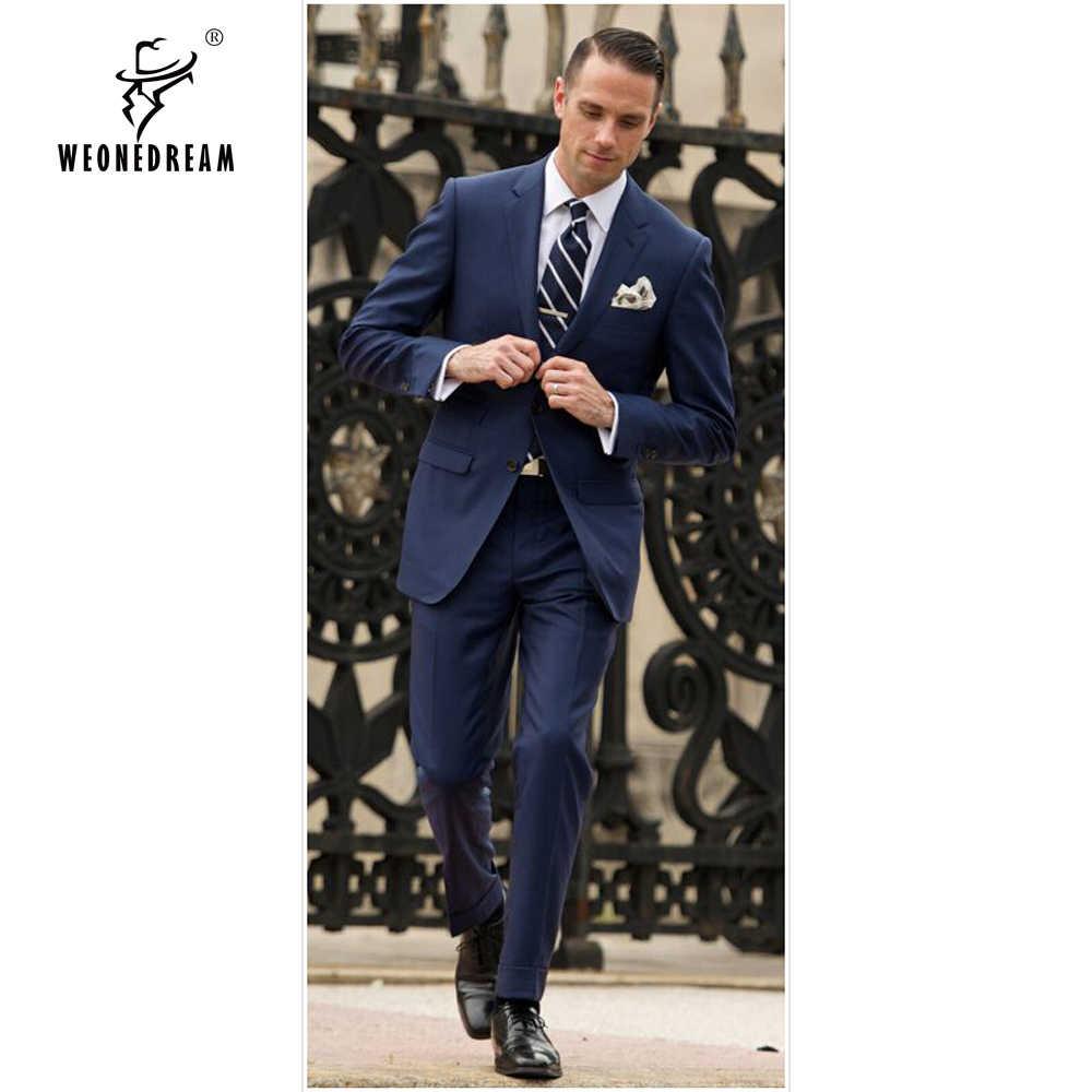 Weonedream紳士ビジネススーツ高品質2018新しいカスタムメイドダークブルー男性スーツ、新郎ウェディングスーツ