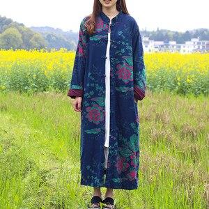 Image 3 - LZJN 2020 الربيع المرأة خندق معطف الأزهار طويلة القطن الكتان منفضة معطف Vintage سترة واقية الصينية معطف