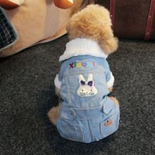 OnnPnnQ Fashion Thick Pet Dog Jumpsuit Overall Clothes For Little Dogs Winter Denim Coat Jacket Costumes Clothing Rabbit Pattern(China)