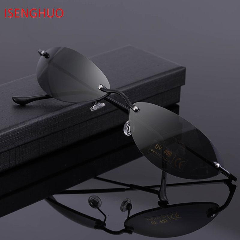 7c4a7358ad0e8 ISENGHUO Novos óculos Sem Aro Oval Clássico Matrix Morpheus Matriz de Óculos  De Sol óculos de