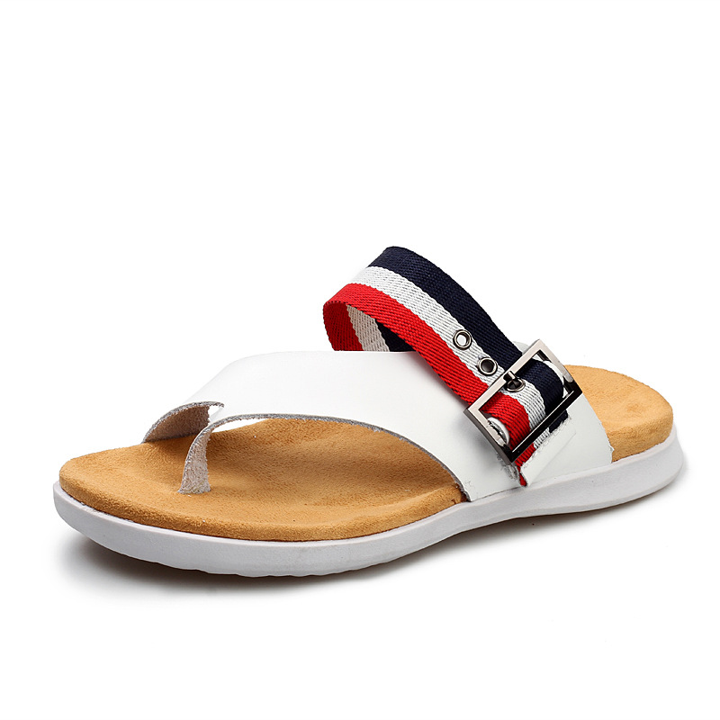 47e5e2f6075f genuine leahter men s casual Sandals shoes 2017 fashion stripe breathable flip  flops slides in sandals for man hawaii sandals